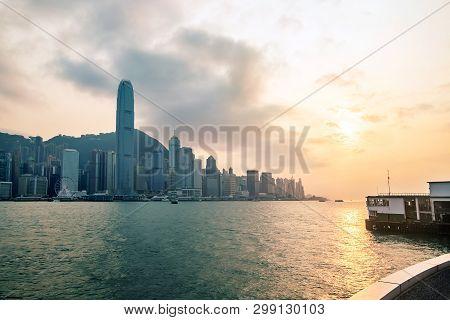 Hong Kong Skyline Before Sunset Seen From Kowloon, Hong Kong, China.