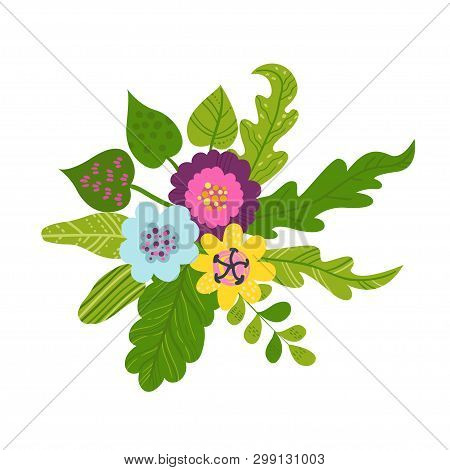Tropical Bouquets Of Flowers And Leaves. Concept Of The Jungle For The Design Of Invitations, Greeti