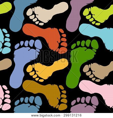 Seamless Pattern Of Footprints In Pastel Colors, Variations Of Colorful Human Soles On Dark Flat Bac