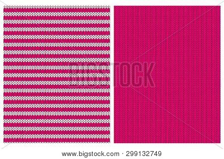 Pink Knitwear Style Vector Patterns. Vivid Pink Simple Sweater Design for Textile, Layout, Printing, Wrapping Paper, Party Decoration. Repeatable Sweater Style Motif. Hoizontal Stripes Layout. poster