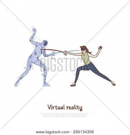 Swordplay Simulation, Woman In Ar Headset, Fencer Hologram Holding Epee, Fighting Game, Virtual Real