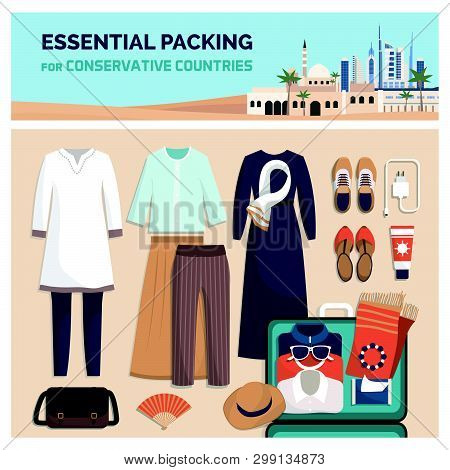 Essential Packing For A Vacation Travel In Conservative Countries, Fashion Outfit And Accessories, F