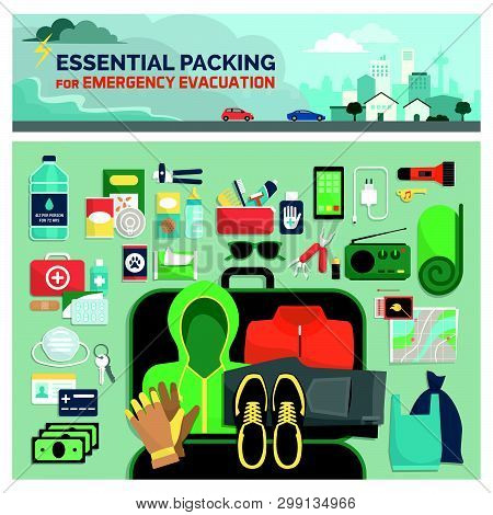 Essential Packing Kit For Emergency Evacuation, Emergency Preparedness And Safety Guide, Flat Lay Ob
