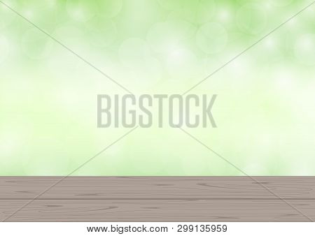Empty Wood Plank On Bokeh Light Green Background For Product Display, Blank Wooden Table Montage On