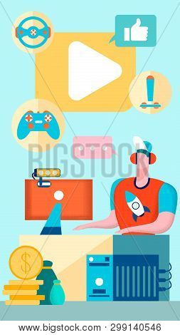 Cybersport, Online Gaming Flat Vector Illustration. Professional Gamer, Streamer Cartoon Character. Teenager Earning Money by Playing Computer Games. Blogging Business, Entertainment Industry poster