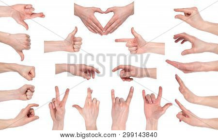 Male Hand Gestures Isolated Over The White Background, Set Of Multiple Images. Images Set Of Male Ca