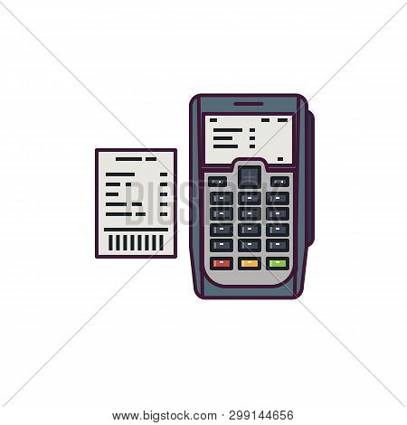 Pos Or Payment Machine. Point Of Sale (pos) Or Point Of Purchase Pop Terminal. Line Style Vector Ill