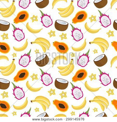 Seamless Pattern With Tropical Fruits. Vector Illustration For Your Design