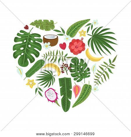 Bright Heart Of Tropical Leaves And Flowers