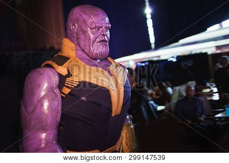 Saint Petersburg, Russia - April 27, 2019: Festival Of Games And Comics, Titan Thanos Cosplay From T