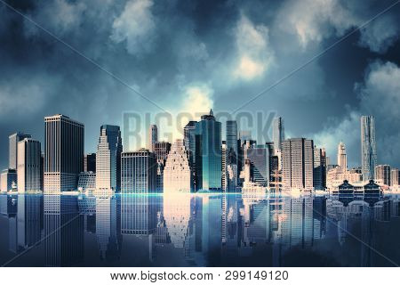Abstract Cloudy New York City Background With Reflections. Urban And Corporate Concept