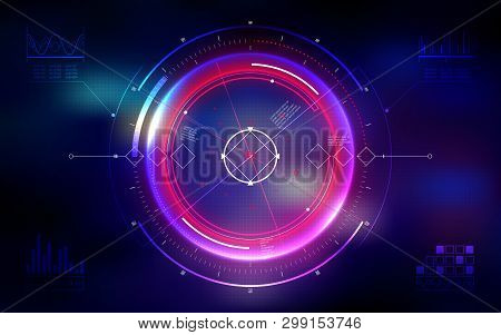Futuristic Military Aim. Neon Hud Display. Digital User Interface Screen. Technology Abstract Backgr