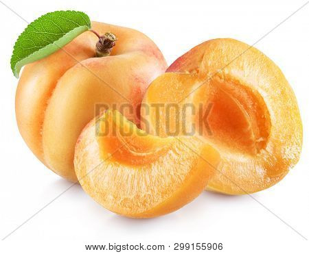 Ripe apricot fruits with apricot leaf. File contains clipping path.