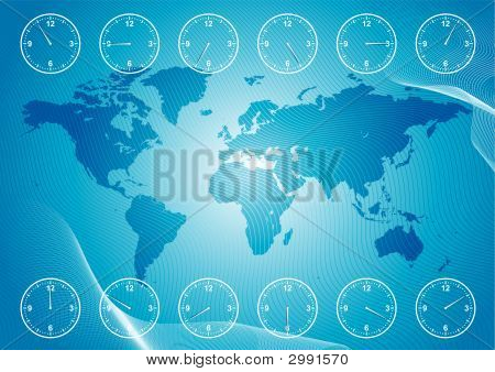 World Map And Region Time