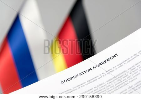 Russia Germany Flag Nord Stream 2 Contract Blurred Background