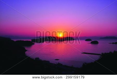View Of Sea And Sun Evening Time