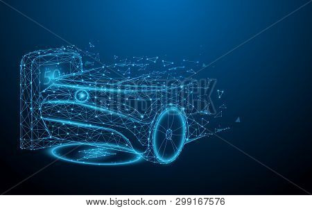 Electric Car At Charging Station From Lines, Triangles And Particle Style Design. Illustration Vecto