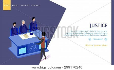 Justice Horizontal Banner With Copy Space. Speaking Man Stand In Front Of Table With Sign Of Judge S