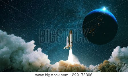 Rocket Takes Off Into Space With The Planet. Spacecraft Performs The Space Mission. Ship Takes Off I