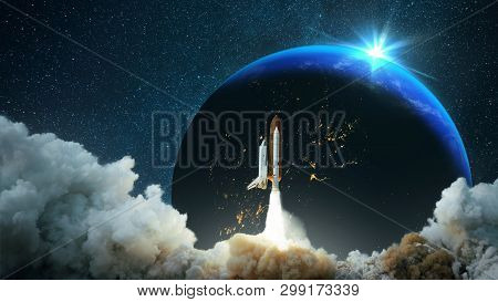 Spacecraft Takes Off Into Space. Starry Sky And Planet Earth With Sunset. Space Mission. Travels. Ro