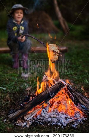 A little boy on a picnic sitting by the fire and fry bread on a stick . campfire at the campsite in the open air. Travel, camping and adventure with your child. Little traveler poster