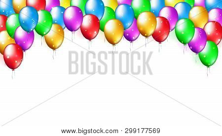 Holiday Party Background With Colorful Balloons. Balloon Decoration. Multicolor Balloons On A White