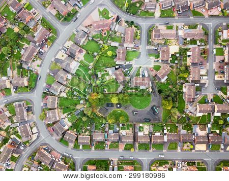 Satellite Image Style Aerial View Of Homes On An English Housing Estate. Looking Straight Down On St