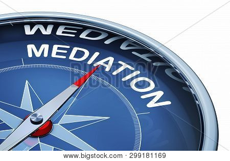 3d Rendering Of An Compass With The Word Mediation