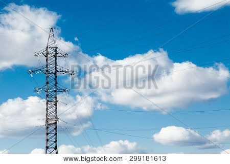 High Voltage Electric Tower. High voltage post or High voltage tower Power concept poster