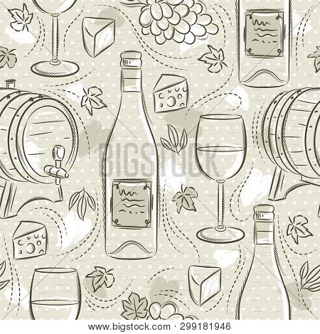 Beige Seamless Patterns With White Wine Set, Cask, Wineglass, Barrel, Grape And Cheese. Ideal For  P