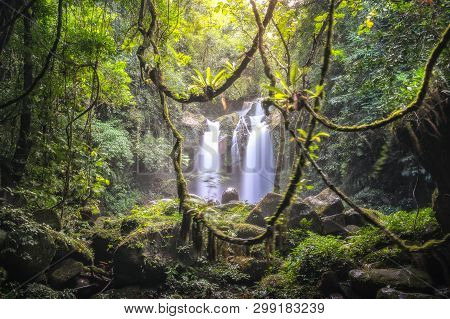 Beautiful Large Waterfall In The Forest. Landscape Of Rain-forest Abundant Natural Resources In Thai