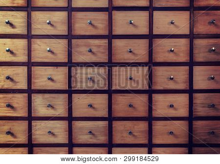 Old-fashioned Library Card Catalog. File Cabinet Storage Case
