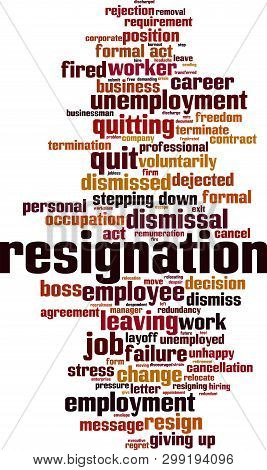 Resignation word cloud concept. Collage made of words about resignation. Vector illustration poster