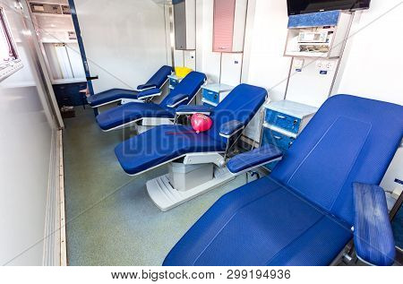 Samara, Russia - May 1, 2019: Inside The Mobile Blood Transfusion Station Vehicle