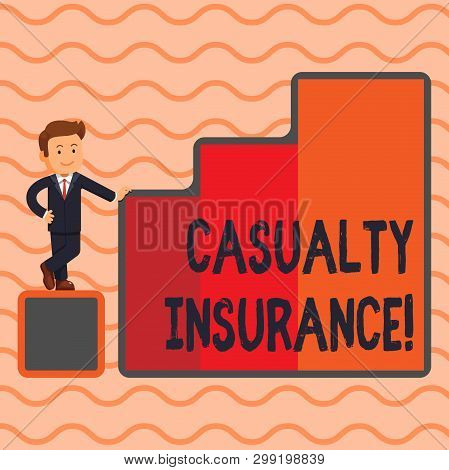 Word writing text Casualty Insurance. Business concept for overage against loss of property or other liabilities Happy Businessman Presenting Growth and Success in Rising Bar Graph Columns. poster