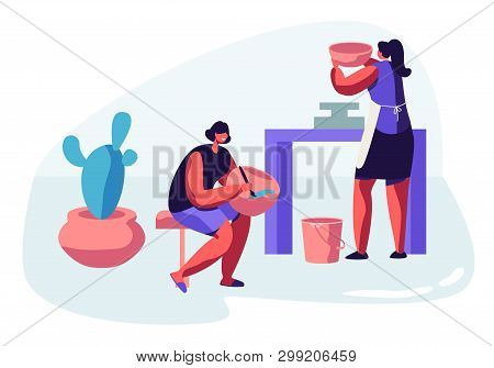 Female Characters Painting Pots, Earthenware, Crockery Girls Artists Decorating Ceramics at Pottery Workshop. Enjoying Creative Hobby, Handcrafted Master Class. Cartoon Flat Vector Illustration poster