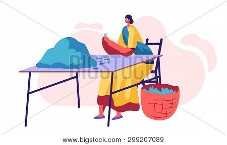Tea Picker Female Character In Traditional Indian Dress Sorting Fresh Green Leaves Of Tea And Put To