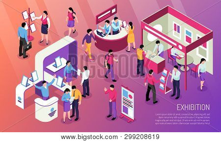 Exhibition Horizontal Illustration With Visitors  Looking At Advertised Product And Consultant Chara