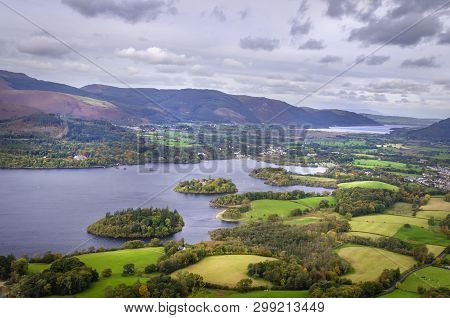 A View Of Derwentwater From Walla Crag Near To Keswick In The Lake District England