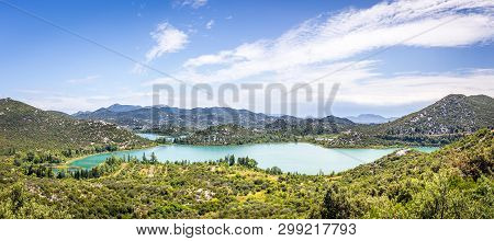 Aerial View Of Beautiful Bacina Lakes In Neretva District, Croatia