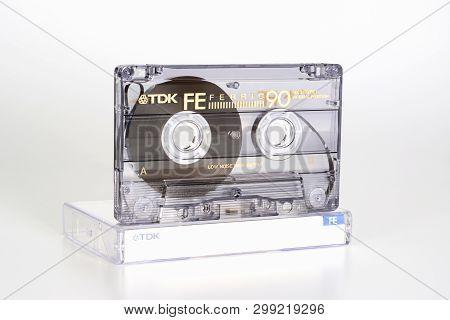 Prague, Czech Republic - February 20, 2019: Audio Compact Cassette Tdk Fe 90 Ferric On Plastic Box L