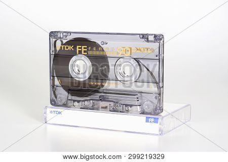 Prague, Czech Republic - February 20, 2019: Audio Compact Cassette Tdk Fe 90 Ferric On Plastic Box R