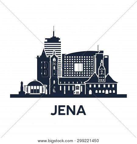 Jena City Skyline. Germany, Thuringia. Solid Color.