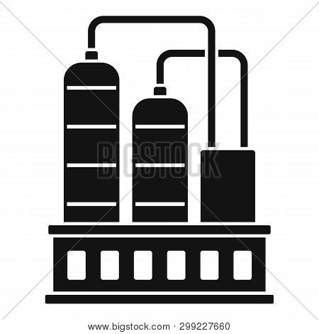 Industrial Refinery Factory Icon. Simple Illustration Of Industrial Refinery Factory Vector Icon For