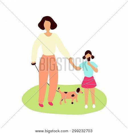 Mother Walking Spotty Dog On Leash Together With Little Daughter Eating Chocolate Ice Cream. Flat Mo