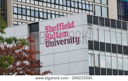 Sheffield Hallam University Logo On The Side Of The Surrey Building In The City Centre Campus, Sheff