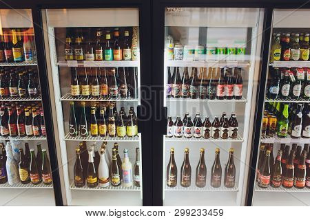 Ufa, Russia 5, 2018: Various Bottles Of Craft, Microbrew, Ipa, Domestic And Imported Beers From Arou