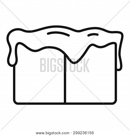 Toffee Cube Icon. Outline Toffee Cube Vector Icon For Web Design Isolated On White Background