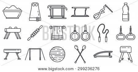 Modern Gymnastics Equipment Icons Set. Outline Set Of Modern Gymnastics Equipment Vector Icons For W