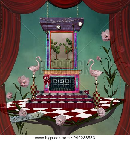 Surreal Stage Inspired By Alice In Wonderland Fairytale - 3d Illustration